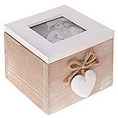 Solid Wood Heart Photo Storage Box - Brown / White