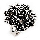 Rose Diamante Fancy Ring In Burn Silver Metal