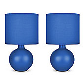 Pair of Small Ceramic Table Lamps in Blue