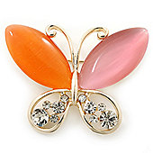 Orange/Pink Cat's Eye Stone/ Diamante Butterfly Brooch In Gold Plating - 40mm Width