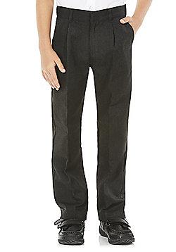 F&F Boys Longer Length Pleat Front School Trousers - Grey