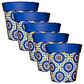 5 x 22cm Blue & Yellow Tile Plastic Garden Planter 5L Flowerpot by Hum