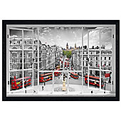 London Black Wooden Framed A Capital Through a Window Poster