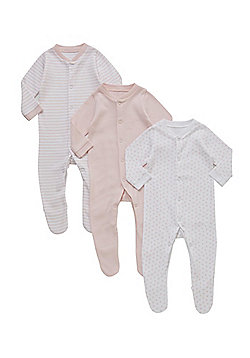F&F 3 Pack of Sleepsuits - Pink