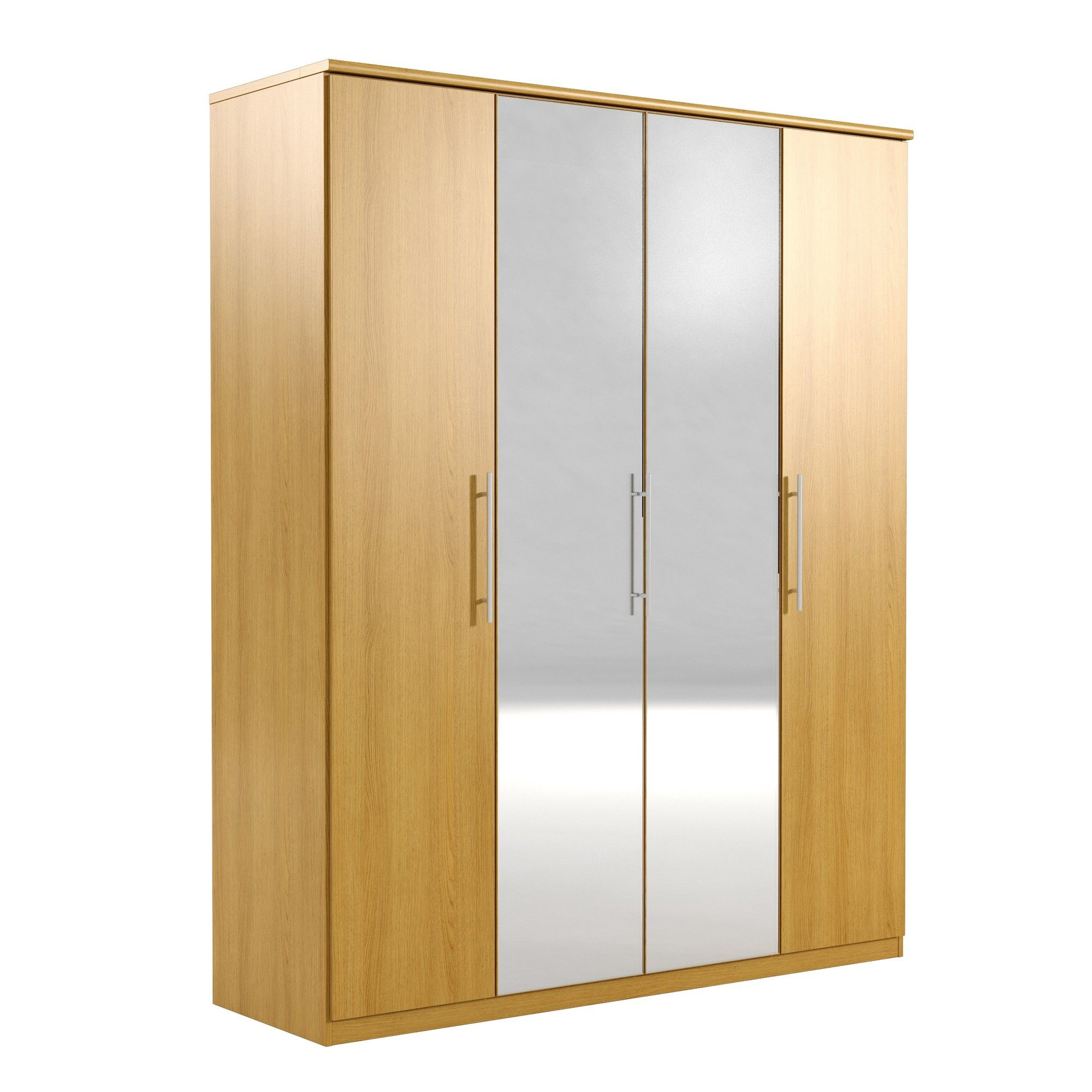 Urbane Designs Prague 4 Door Wardrobe - Oak at Tesco Direct