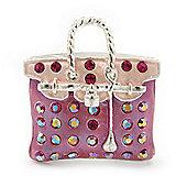 Pink Crystal Designer Bag Brooch (Silver Tone) - 30mm Length