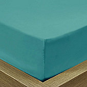 Julian Charles Percale Teal Luxury 180 Thread Count Fitted Sheet - Double