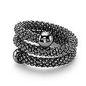 Jewelco London Ruthenium Coated Sterling Silver Double Wrap Popcorn Beaded Fashion Ring Size