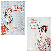 Retro Ladies Tea Towel 2 pack