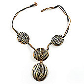 Zebra Print Wooden Disk Leather Cord Necklace (Black&Beige)