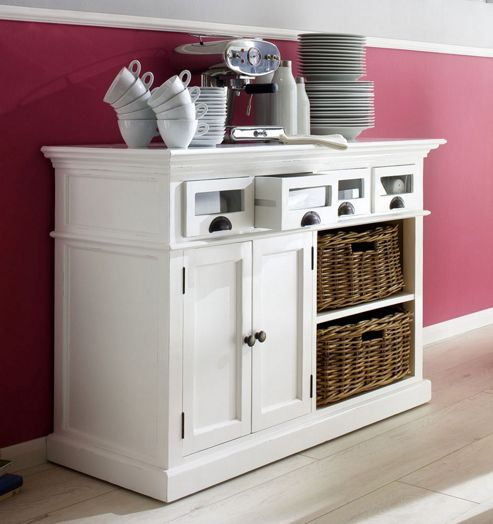 Whitehaven Painted Buffet With Glass Front Drawers and 2 Baskets
