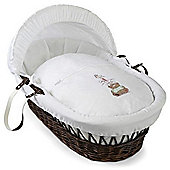 Clair de Lune Tippy Tumble Dark Wicker Moses Basket (White)