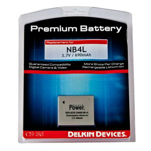 Delkin Canon NB4L 600 mAh Rechargeable Lithium-ion Battery