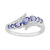 Gemondo Sterling Silver 0.73ct Natural Tanzanite & Diamond Contemporary Style Ring