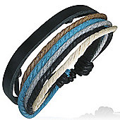 Urban Male Genuine Black Leather Multi Strand Surfer Style Bracelet with Coloured Cord