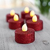 Set of 6 Red Glitter Battery LED Tea Lights