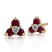 Gemondo 9ct Yellow Gold 0.32ct Ruby & Diamond Floral Cluster Stud Earrings