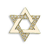 Jewelco London 9 Carat Yellow Gold 10pts Diamond Star Of David Pendant