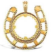 Jewelco London 9ct Solid Gold casted half-size Horseshoe design Sovereign coin pendant mount