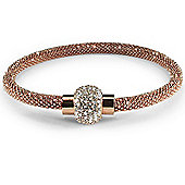 Jewelco London Sterling Silver - Diamond-cut Beaded Magnetic Tubular - Rose CZ bead set - Bracelet - Ladies