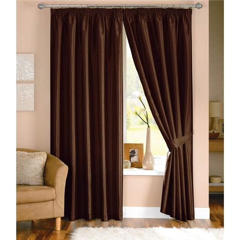 Dreams and Drapes Java 3 Pencil Pleat Lined Faux Silk Curtains (inc. t/b) 46x54 inches (117x137cm) - Chocolate