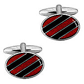 Red and Black Enamel Stripe Oval Cufflinks
