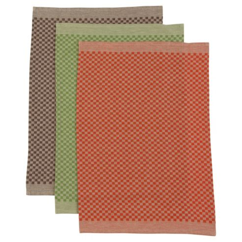 Tesco Brown, Green and olive Jaquard Tea Towels 3 pack