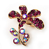 Tiny Magenta Crystal Calla Lily Pin Brooch (Gold Tone)