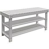 Solid Wood 3 Shelf 12 Pair Shoe Storage Rack - White