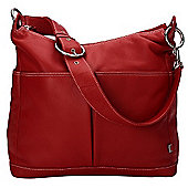 OiOi Pompeian Leather Pocketed Hobo Changing Bag (Red)