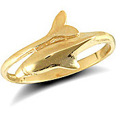 Jewelco London 9ct Solid Gold Dolphin design Ring