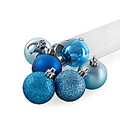 Set of Six Turquoise Blue Shatterproof Christmas Tree Baubles