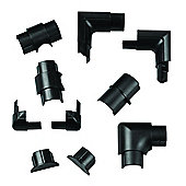 Black Skirting Board Cable Management Accessory Pack