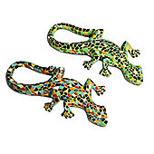 Pair Of Mosaic Lizard Garden Ornaments In Resin