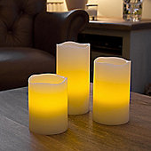 Set of 3 Remote Control Battery Vanilla Scented Wax LED Candles
