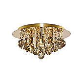 Small Gold Semi Flush Ceiling Light with Amber Coloured Crystal