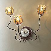 Siru Vecchia Fattoria Three Light Wall Bracket - Amber Baloton + Ceramica Marrone