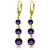 QP Jewellers 7.20ct Amethyst Trinity Leverback Earrings in 14K Gold