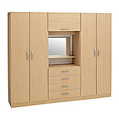 Ideal Furniture Budapest 4 door Wardrobe with drawers - Oak