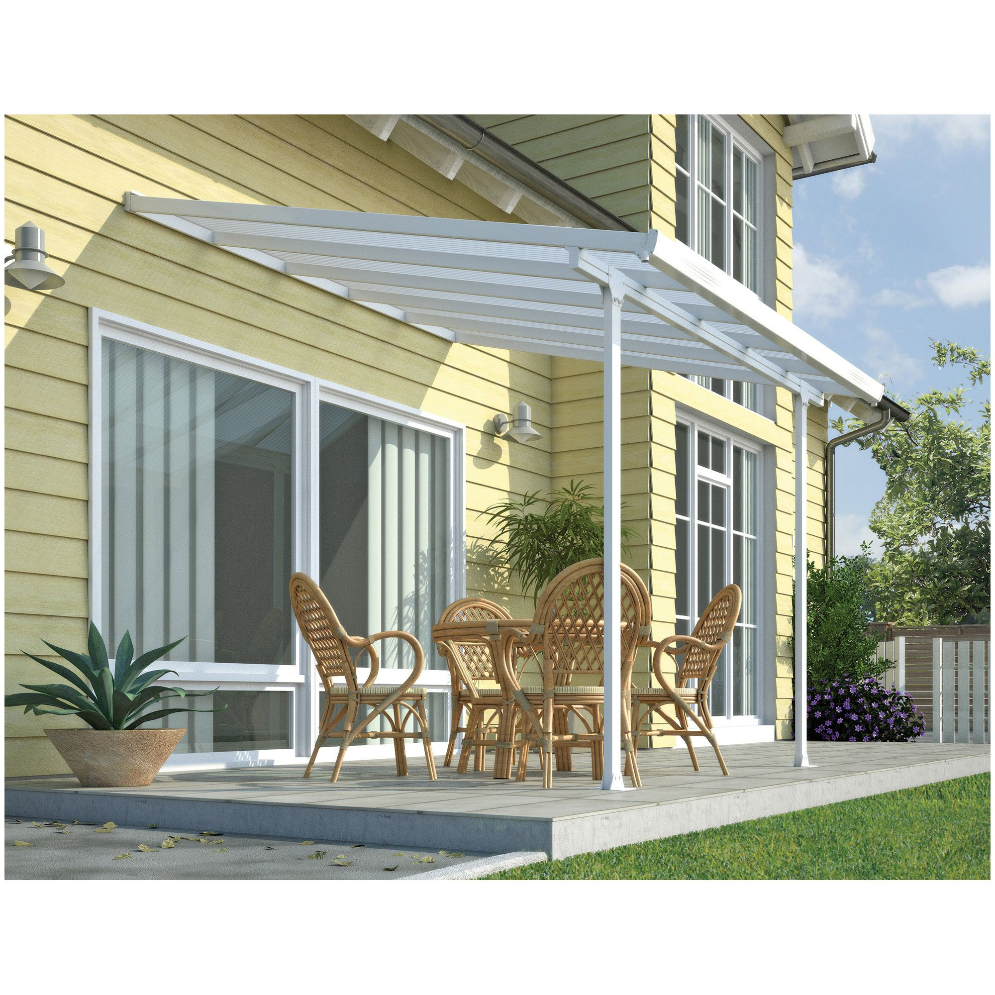 FERIA LEAN TO CARPORT AND PATIO COVER 3X4.2 WHITE at Tescos Direct