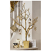 Festive Gold Glitter Twig Look Christmas Tree In Pot, 3ft