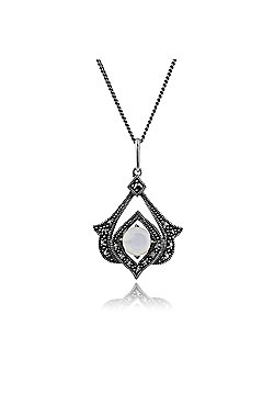 Gemondo 925 Sterling Silver Mother of Pearl & Marcasite Art Nouveau Necklace