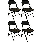 Pack of 4 Chairs - Black Metal Folding Office, Computer, Desk Chairs