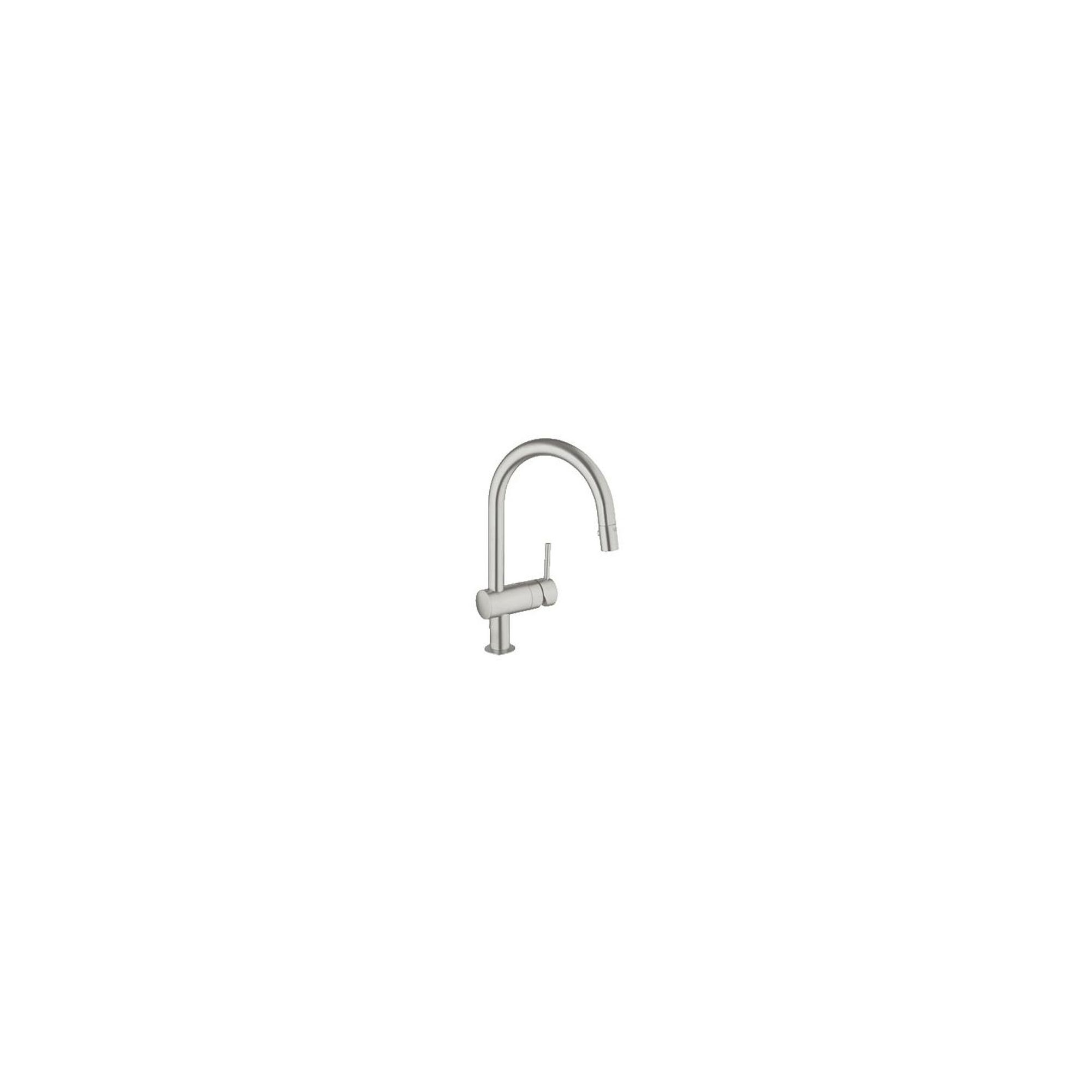 Grohe Minta Mono Sink Mixer Tap, C-Spout, Pull-Out Spray, Single Handle, SuperSteel at Tesco Direct