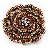 Spectacular Brown Dimensional Rose Brooch (Antique Gold Tone)