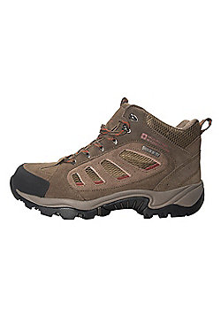 Lockton Men's Waterproof Hiking Boots Mid Top Ankle Support Walking Trekking - Brown