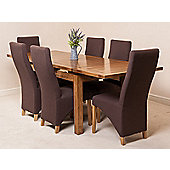 Farmhouse Rustic Solid Oak 160 cm Butterfly Extending Dining Table with 6 Lola Fabric Chairs (Brown)