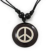 Unisex Black/ White Resin Medallion 'Peace' Cotton Cord Pendant - Adjustable
