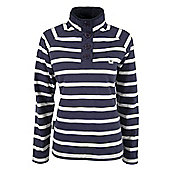 Gower Womens 100% Cotton Striped Lightweight Button Neck Top Sweater Jumper - Blue