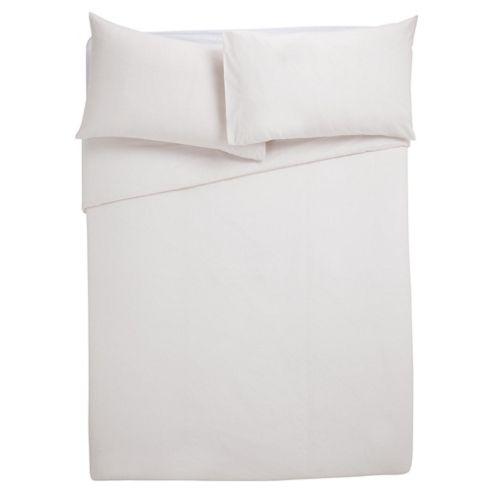 Tesco Poly/Cotton Plain Dye Bedset, Single, White